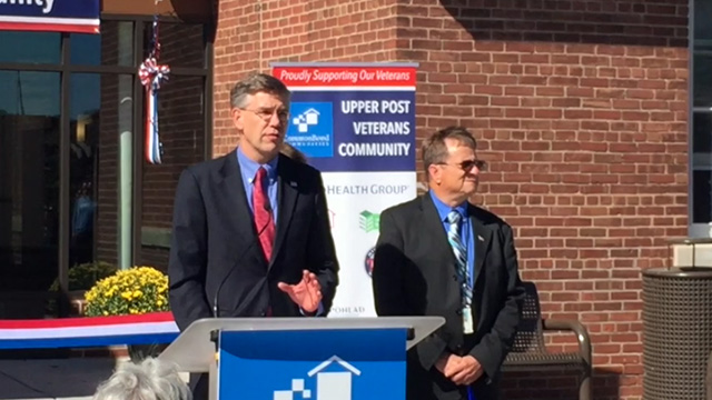 Congressman Erik Paulsen speaks at the ribbon-cutting ceremony for the opening of Upper Post Veterans Community (Video: Greg Page).