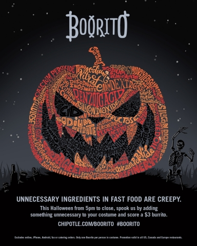 Chipotle says unnecessary additives are creepy for this year's Boorito fundraiser. (Photo: Business  ...