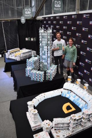 "Bryan Berg, Guinness World Record holding ""Cardstacker"" and Dee Schlotter, senior color marketing ma ..."