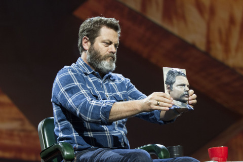 Actor Nick Offerman admires a 3D portrait of himself at Adobe MAX on Tuesday, October 6, 2015, in Lo ...