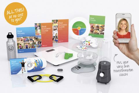 Real Appeal's weight-loss kit includes exercise DVDs, interactive scale, pedometer, blender, calorie ...