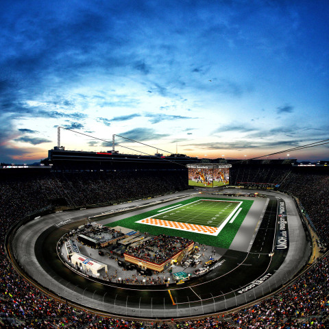 Shown is a concept depicting Bristol Motor Speedway's new Colossus video display at the Battle at Bristol, college football's biggest-ever game scheduled for Sept. 10, 2016, between the University of Tennessee and Virginia Tech. Featuring four custom-built screens each measuring 30 feet tall by 63 feet wide, Colossus will be the world's largest outdoor, center-hung video display. (Photo: Business Wire)