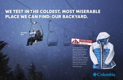 "Columbia Sportswear launches new ""Tested Tough"" advertising campaign (Photo: Business Wire)"