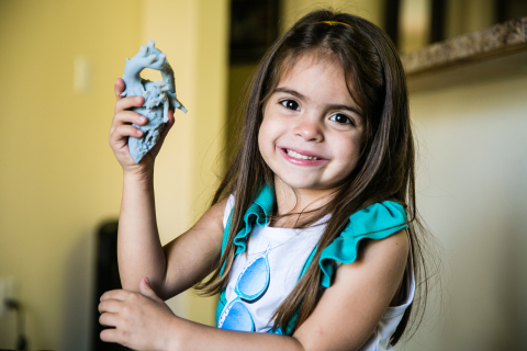 Five-year-old Mia Gonzalez suffered from a rare heart malformation called double aortic arch. A Stratasys 3D printed model of her heart was used to perform a successful operation  (Photo: Stratasys).
