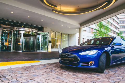 Electric vehicle charging stations are available at Hilton properties across the U.S. including the Hilton McLean, VA, an early adapter of the program. (Photo: Business Wire)