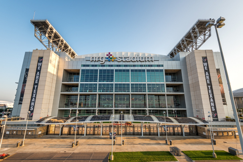 Nearly 600 solar panels have been installed atop pedestrian bridges and around NRG Stadium, making their debut for the Houston Texans' 2015 season. The solar panels complete a sustainability package at NRG Energy's namesake stadium, including electric vehicle charging stations, energy-efficient LED lighting and NRG Street Charge solar-powered mobile device charging stations. (Photo: Business Wire)
