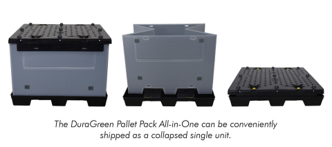 The DuraGreen Pallet Pack All-in-One can be conveniently shipped as a collapsed single unit. (Graphic: Business Wire)