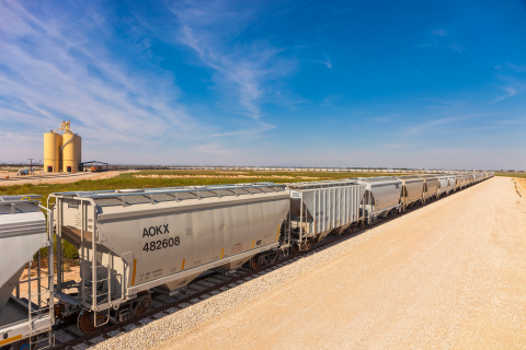 A record-breaking 150-car unit train carrying 33 million pounds of frac sand arrives at Rangeland En ...