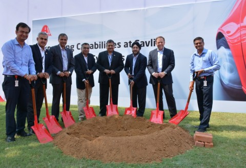 Axalta Chairman & CEO Charlie Shaver and local executives break ground on construction of new manufa ...