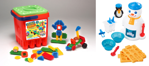 Under license from Hasbro, GP Flair re-launches two classic brands in the UK: STICKLE BRICKS and MR. FROSTY. Starting in 2016, a new generation of children will be sticking, stacking, and building their way to developing better dexterity and imagination with the STICKLE BRICKS brand, the perfect first construction toy for toddlers. GP Flair will also re-release the MR. FROSTY frozen slushy maker in 2016, which first became a household favourite when it debuted in 1980.  (Photo: Business Wire)