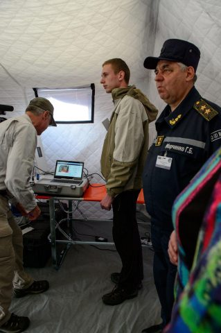 Ronald Poropatich, MD, Executive Director of the Center for Military Medicine Research, Health Sciences at the University of Pittsburgh, uses the TES to communicate with a remote specialist during the NATO exercise in Ukraine. (Photo: Business Wire)