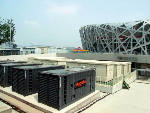 Orange Business Services customer Aggreko supplying power to the Beijing Olympics Bird's Nest stadium. Credit: Courtesy of Aggreko plc. Unauthorized use not permitted.