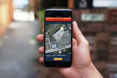 This PulsePoint mobile app alerts users when a sudden cardiac arrest occurs in a nearby public place, directs them to the patient location and provides CPR guidance while paramedic units are en route to the call. The app also notifies users of the closest available Automated External Defibrillator (AED). (Graphic: Business Wire)