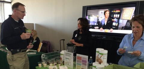 Susan Bowerman, director of nutrition training for Herbalife, and Herbalife independent member Laura ...