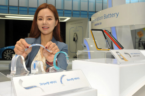 Samsung SDI unveiled Stripe and Band batteries at InterBattery 2015. The batteries are an embodiment of the age of wearable batteries that is applicable to any curves of a human body. (Photo: Business Wire)