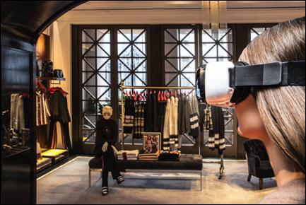 Model Wearing Virtual Reality Headset in Tommy Hilfiger's Fifth Avenue Flagship Store (Photo: Busine ...