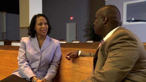 Tanya Bonham Scott speaks with Pastor Michael Clayton of Greater Works Christian Church. (Photo: Business Wire)