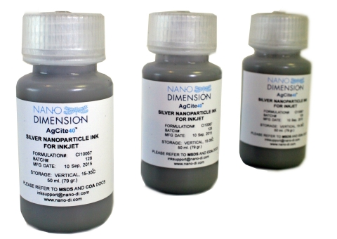 Nano Dimension's AgCite™ Highly Conductive Silver Nanoparticle Inks for Printed Electronics (Photo: Business Wire)