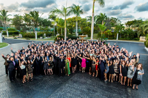 Employees of Axis Communications gathered to celebrate their success during the 2015 Kickoff event held in Cancun. Axis was ranked #17 on the annual Great Place to Work® 2015 Best Small & Medium Workplaces list, published by Fortune magazine. (Photo: Business Wire)