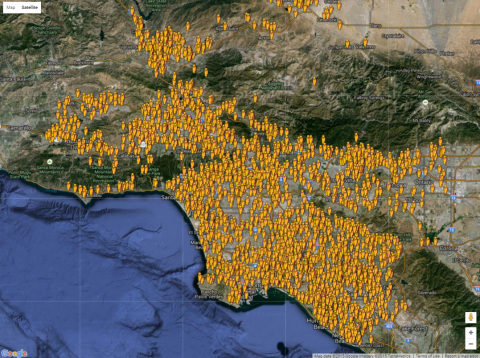 This map shows PulsePoint mobile app CPR responder coverage across Los Angeles, California. More than 26,000 people have opted-in to receive CPR alerts from the PulsePoint Respond mobile app. Los Angeles County went live with PulsePoint in August, 2014 and the City of Los Angeles went live with PulsePoint in March, 2015. (Graphic: Business Wire)