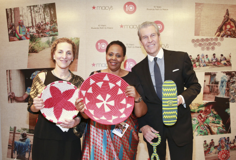 Willa Shalit, co-founder of Rwanda Path to Peace, Janet Nkubana, co-founder of Gahaya Links, and Terry J. Lundgren, Macy's chairman and CEO, attend Macy's 10th anniversary celebration of Rwanda Path to Peace at Macy's Herald Square in New York City. (Photo: Business Wire)