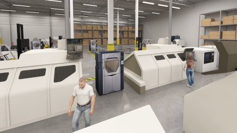 Additive manufacturing systems integrated on the shop floor in Factory of the Future vision. (Photo: Stratasys)