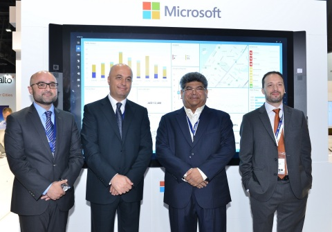 (L-R) Mr. Ahmed Waheed - Partner Business Manager, Microsoft Gulf, Mr. Samer Abu Ltaif, Regional General Manager, Microsoft Gulf, Mr. Dilip Rahulan, Executive Chairman and CEO, Pacific Controls and Mr. Michael Mansoor - Head of Developer Experience, Microsoft Gulf (Photo: ME NewsWire)