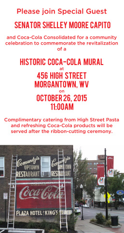 Coca cola to unveil restored historic wall mural in for Coca cola wall mural