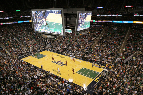 The Utah Jazz will play this season on the Larry H. Miller court at the Vivint Smart Home Arena. (Photo: Business Wire)