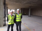 Stephen Ayris (L) and Thomas Knapman (R) of SCIEX at the construction site of Stoller Biomarker Discovery Centre, UK (Photo: Business Wire)