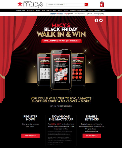 "Through Macy's mobile app, shoppers will have a chance to win $1 million in prizes through ""Macy's Black Friday Walk In & Win"" game. (Photo: Business Wire)"