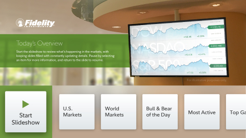Fidelity® App for Apple TV®: Today's Overview slideshow (Graphic: Business Wire)