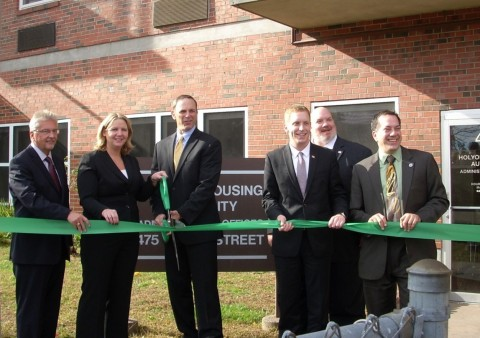 Holyoke Housing Authority Project Completion Ribbon-cutting Celebration. (L to R) David J. Anderson, ...