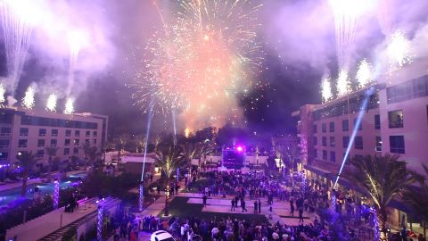 Fireworks to celebrate the official opening of the new Viejas Hotel Tower. (Photo: Business Wire)