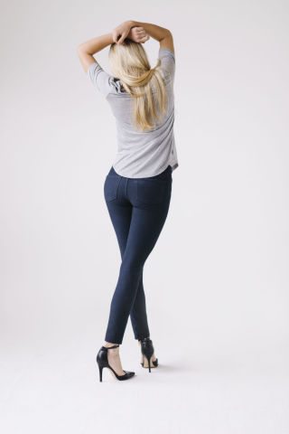 Fabrics made with INVISTA's new knit denim technology can qualify for different LYCRA® brands. Shown ...