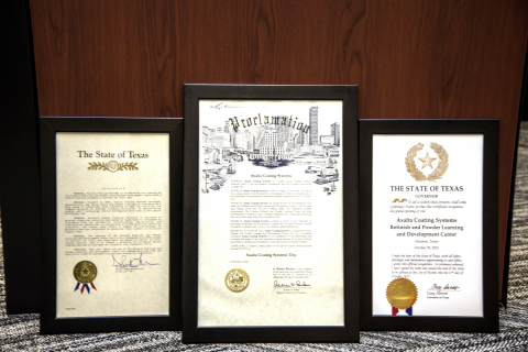 Three of the four awards presented to Axalta Coating Systems in honor of its Houston Refinish and Po ...
