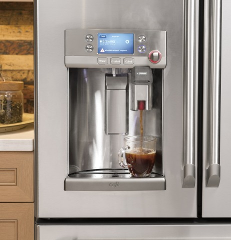 GE's new refrigerator technology, an evolution of its Café French door refrigerator's unique hot water dispenser, paired with a Keurig® K-Cup® single cup brewer, meets the growing consumer interest. (Photo: GE)