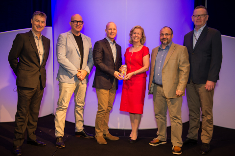 Pictured from left to right:  Michael Kelly, CEO, FINEOS, Mike Tully, Head of Client Service Delivery, ACC, Scott Pickering, Chief Executive, ACC, Anne Anderson, Irish Ambassador to the United States, Paul Jepson, CIO, ACC and Jim Stabback, COO, ACC. (Photo: Business Wire)