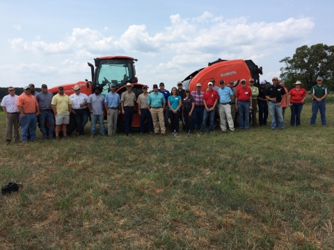 County extension agents with the University of Georgia, Athens, pose in front of Kubota's M135GX tractor and BV4180 baler after receiving training on hay and forage production from Kubota product experts. (Photo: Business Wire)