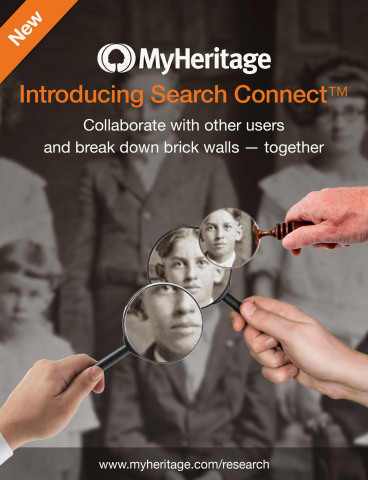 Introducing Search Connect™ Collaborate with other users and break down brick walls - together www.myheritage.com/research (Graphic: Business Wire)