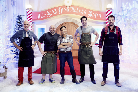 "Food Network and HGTV stars go head-to-head in the friendly holiday competition ""All-Star Gingerbread Build,"" simulcast on Food Network and HGTV Saturday, November 28 at 8