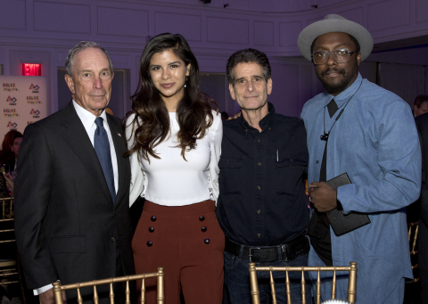 Inspire Award recipients pose with FIRST Founder Dean Kamen during inaugural charity event. From left to right are Michael R. Bloomberg, Diana Lee Guzman, Dean Kamen, and will.i.am. (Photo: Business Wire)