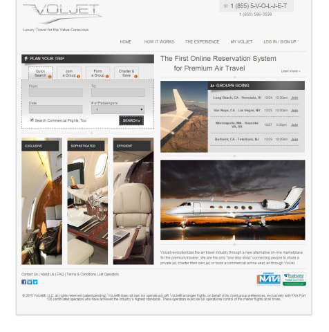 The new VolJet.com luxury travel website features the first online reservation system where you can charter a private jet or book a commercial airline seat all-in-one. (Graphic: Business Wire)