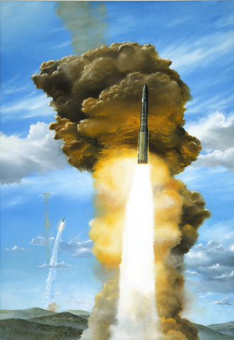 Glory Trip, Orbital ATK artist Mark Waki's painting of twin Minuteman III missiles launching from Vandenberg AFB, California. (Photo: Business Wire)