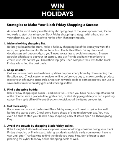Black Friday Survival Tips (Graphic: Best Buy)