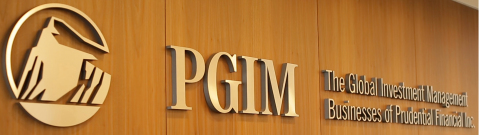Prudential Investment Management's new logo in the lobby of its global headquarters in Newark, NJ
