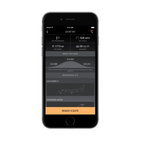 The Skyjet app features a real-time market pricing intelligence tool. Before users even request a quote, the tool shows users instant price estimates, based on current market prices and what other clients actually paid for their trips. (Photo: Business Wire)