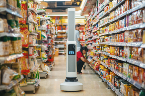 Tally, the world's first robotic autonomous shelf auditing and analytics solution from Simbe Robotics, roams the aisle of a grocery store checking on inventory. (Photo: Simbe Robotics)