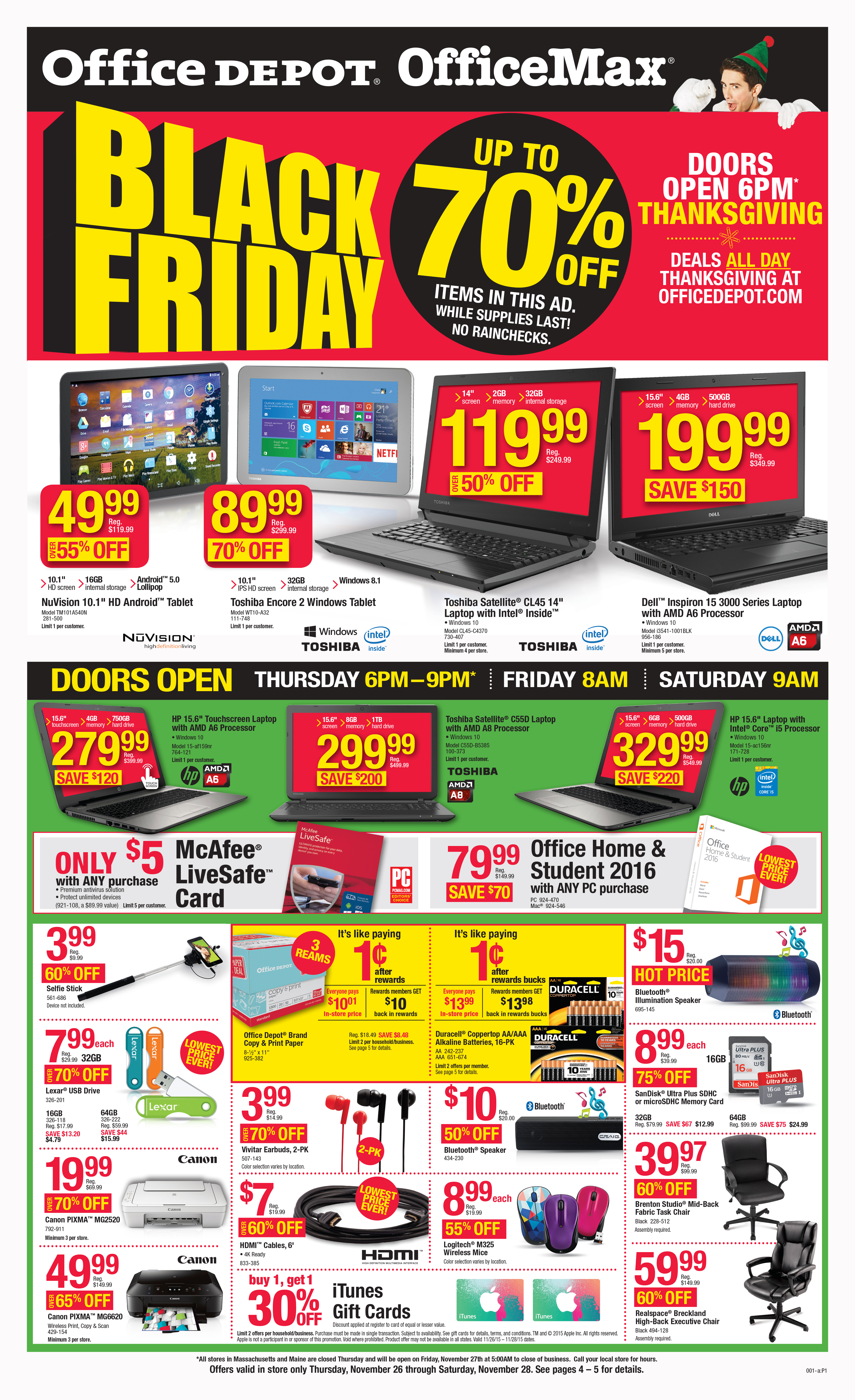 fice Depot Inc Gives Shoppers Head Start on Black Friday and