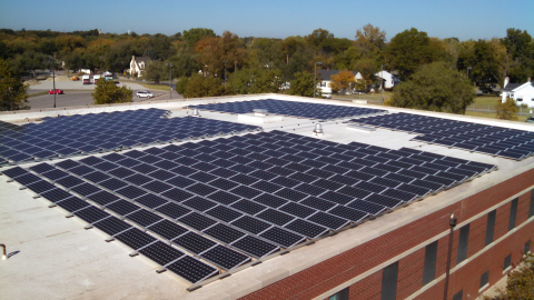 A rooftop system composed of SolarWorld solar panels is part of a new solar system at the Robert J. Dole VA Medical Center in Wichita, Kan. (Photo: Business Wire)